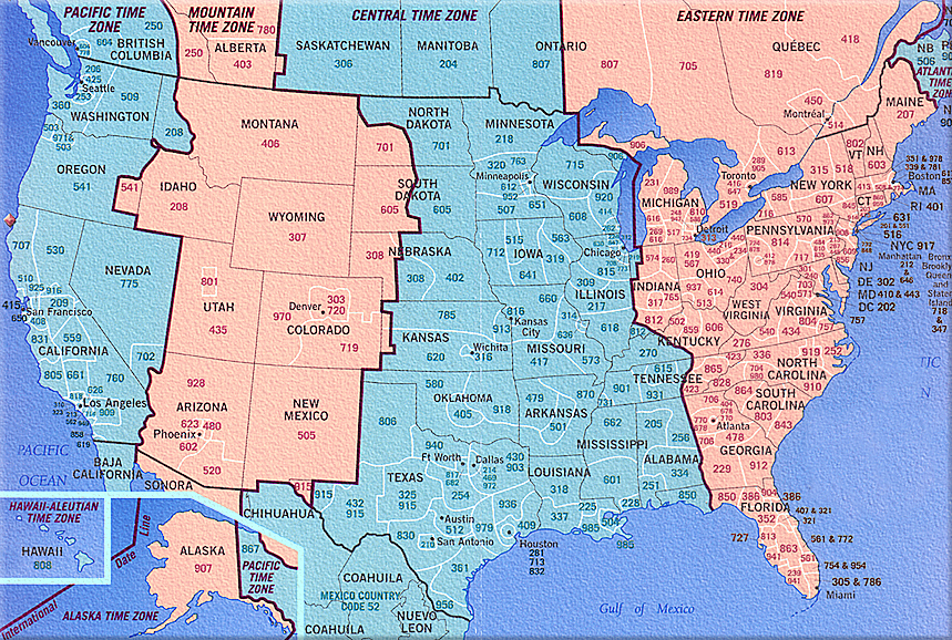 Map Us Time Zones Area Codes Wall HD 2018
